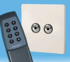 V-Pro IR, 2 Gang, 100 Watt Remote Control/Touch LED Dimmer, Screwless Premium White inc Remote -